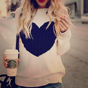 Oversized White Black Heart Sweater